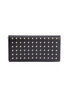 Saint Laurent black leather studded snap flap continental wallet