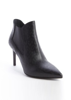 Saint Laurent black leather subtle leopard print heel booties