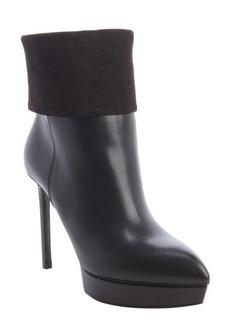 Saint Laurent black leather suede trimmed platform ankle boots