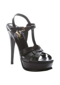 Saint Laurent black leather 'Tribute' t-strap platform sandals