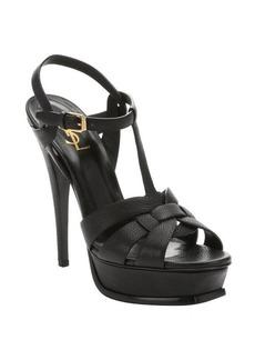 Saint Laurent black leather 'Tribute' t-strap platform sandals
