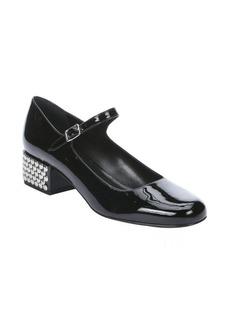 Saint Laurent black leather 'Vitello Vernice Soft' studded mary-jane pumps