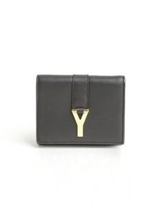 Saint Laurent black leather 'Y' logo buckle detail french wallet