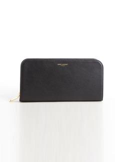 Saint Laurent black leather zip continental wallet