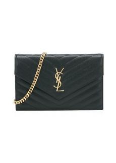 Saint Laurent black matelassé leather envelope shoulder bag