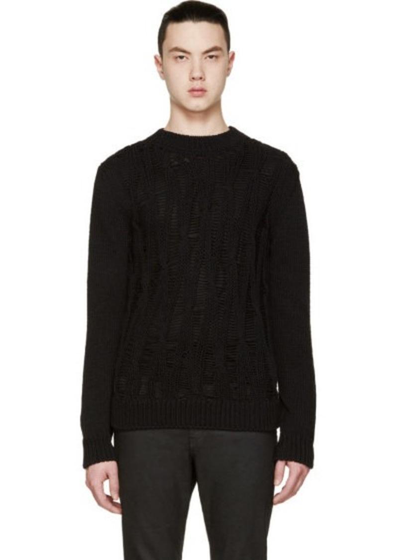 yves saint laurent saint laurent black open cable knit crewneck sweater sizes s l m xl and. Black Bedroom Furniture Sets. Home Design Ideas