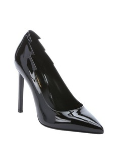 Saint Laurent black patent leather lightning shape pointed toe pumps