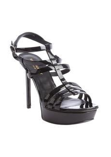 Saint Laurent black patent leather 'Vitello Vernice' strappy sandals