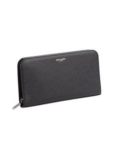 Saint Laurent black pebbled leather continental wallet