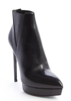 Saint Laurent black pebled leather pointed toe platform heel boots