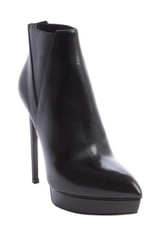 Saint Laurent black pebled leather pointed toe platform heel boots