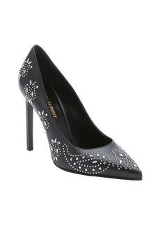 Saint Laurent black studded leather stiletto pumps