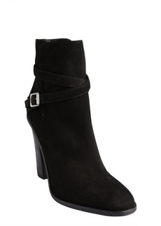Saint Laurent black suede buckle detail tapered toe booties