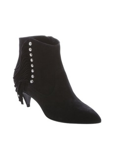 Saint Laurent black suede 'Cat 50' studded fringe ankle booties