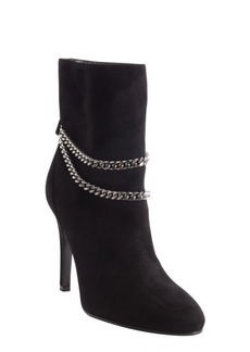 Saint Laurent black suede chain strap detail boots