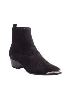 Saint Laurent black suede fire trim steel toe ankle boots