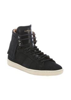 Saint Laurent black suede fringed high-top sneakers