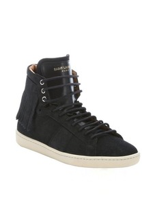 Saint Laurent black suede fringed high-top sneakers