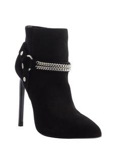 Saint Laurent black suede harness detail pointed toe heel booties
