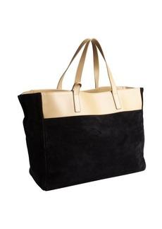 Saint Laurent black suede oversized large tote with pouchette