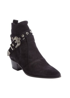 Saint Laurent black suede poined toe buckle detail ankle boots