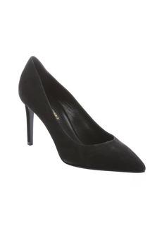 Saint Laurent black suede pointed toe pumps