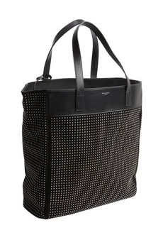 Saint Laurent black suede studded tote bag with removable pouch