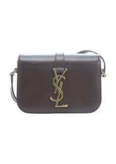 Saint Laurent blackcherry leather 'YSL' logo mini crossbody bag