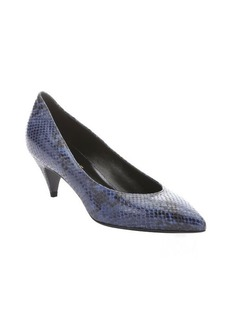 Saint Laurent blue and black python printed leather kitten heel pumps