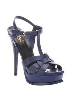 Saint Laurent blue leather 'Tribute' t-strap platform sandals