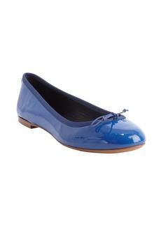Saint Laurent blue patent leather bow tie detail ballet flats