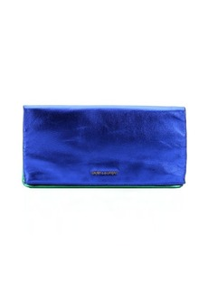 Saint Laurent blue roy and green metallic finish leather foldover clutch