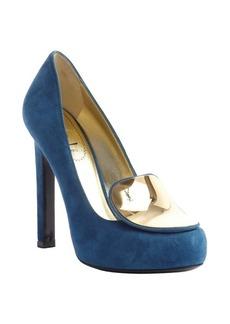 Saint Laurent blue suede and gold disc 'Catherine' pumps