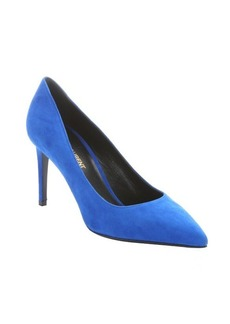 Saint Laurent bluette suede pointed toe pumps