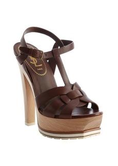 Saint Laurent brown leather 'Tribute' platform strappy sandals