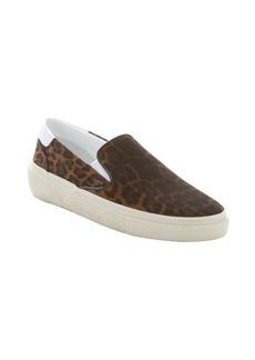 Saint Laurent brown leopard print suede 'Skate 20' slip-on sneakers