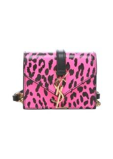 Saint Laurent bubblegum pink and black leather 'Candi' leopard print mini crossbody bag