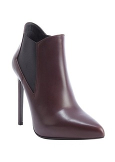 Saint Laurent burgundy leather and elastic gusset stiletto ankle booties