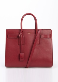 Saint Laurent burgundy red leather 'Sac De Jour' small convertible top handle tote