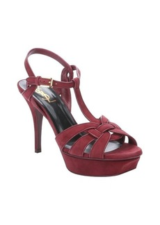 Saint Laurent carmine suede 'Tribute' t-strap platform sandals