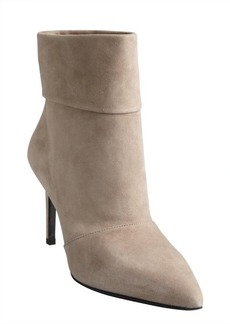 Saint Laurent cement suede cuffed pointed toe ankle boots