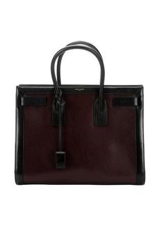 Saint Laurent cherry and black leather 'Sac De Jour' top handle large tote