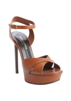 Saint Laurent cinnamon leather bucklestrap platform sandals