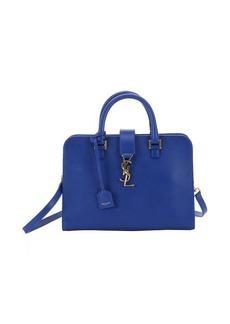 Saint Laurent cobalt blue leather small 'Cabas Monogram' convertible tote