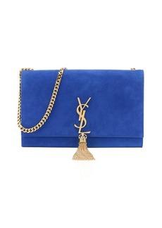 Saint Laurent cobalt suede monogram chain shoulder bag