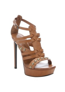 Saint Laurent cognac leather studded strappy 'Biana' stiletto sandals
