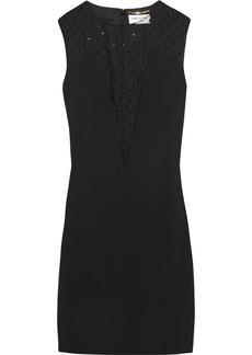 Saint Laurent Crystal-embellished mesh and crepe mini dress
