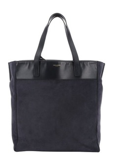 Saint Laurent dark blue suede reversible shopper tote