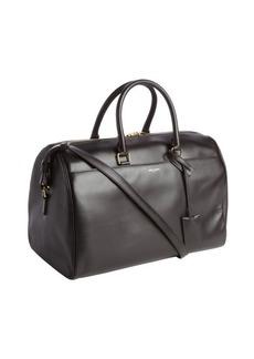 Saint Laurent dark brown leather convertible top handle duffel bag