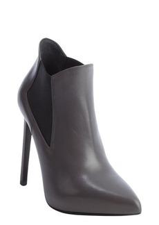 Saint Laurent dark grey leather elastic gusset booties